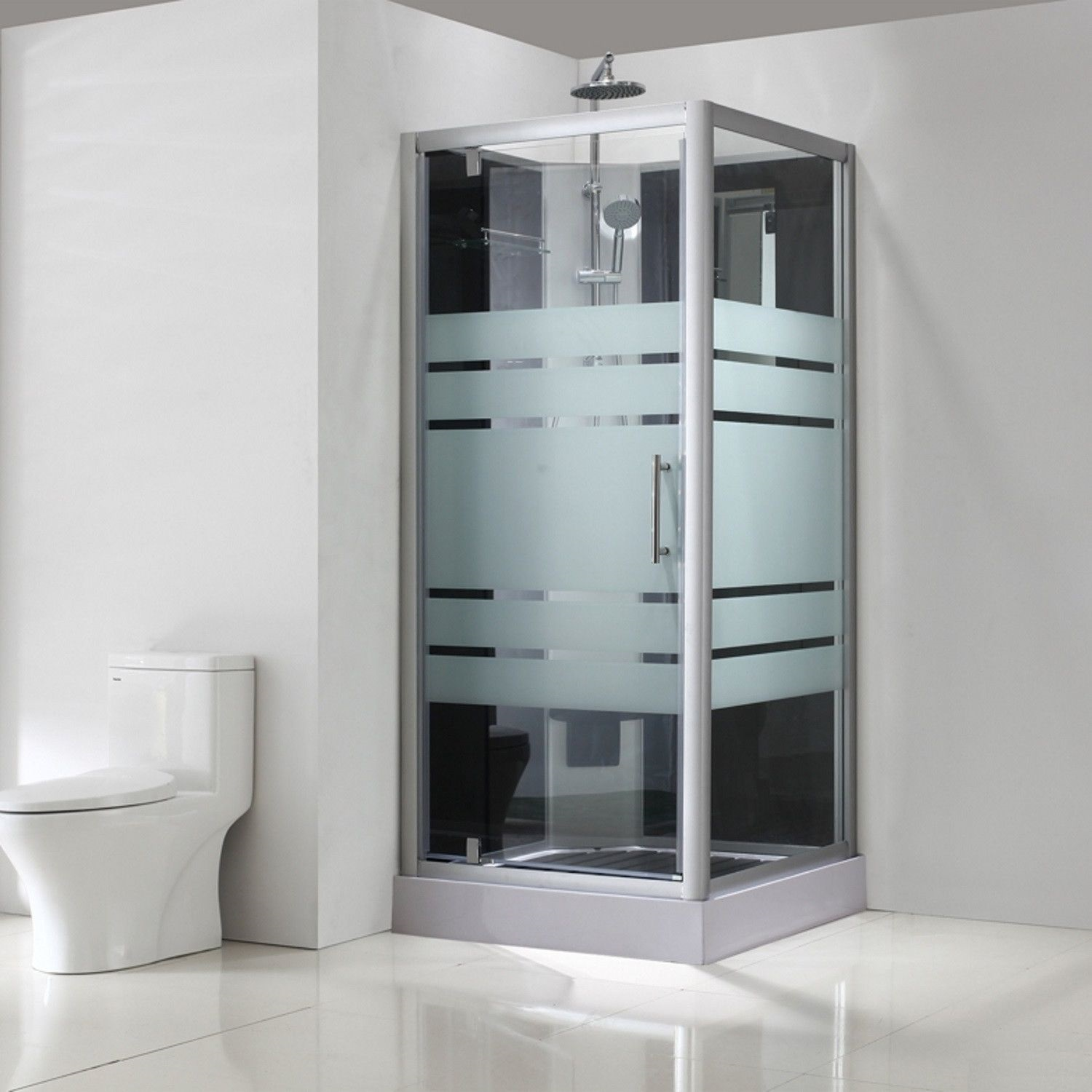 Thermo complete douchecabine 90x90x218cm alu 5mm glas | Wit